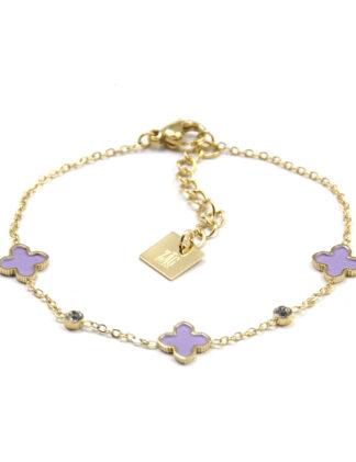 ZAG Armband Klavertjes Lilac | Goud