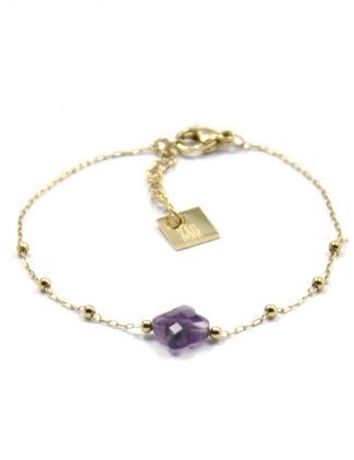ZAG Armband Klavertjevier Purple Amethyst | Goud