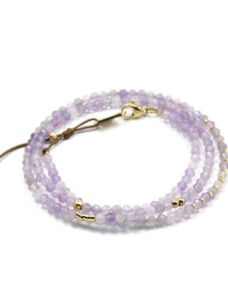 ZAG Dubbele Armband Multi Lilac Amethyst Wrap | Goud