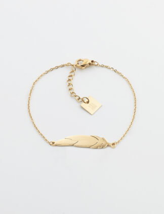 ZAG Feather Bracelet – Gold-plated steel